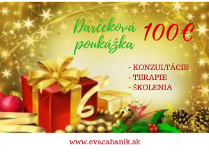 Darčeková poukážka vhodnote 100€ platí dokonca roka 2020. Využiť ju môžete navšetky konzultácie. terapie, školenia... :)