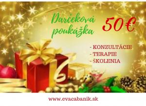 Darčeková poukážka vhodnote 50€ platí dokonca roka 2020. Využiť ju môžete navšetky konzultácie. terapie, školenia... :)